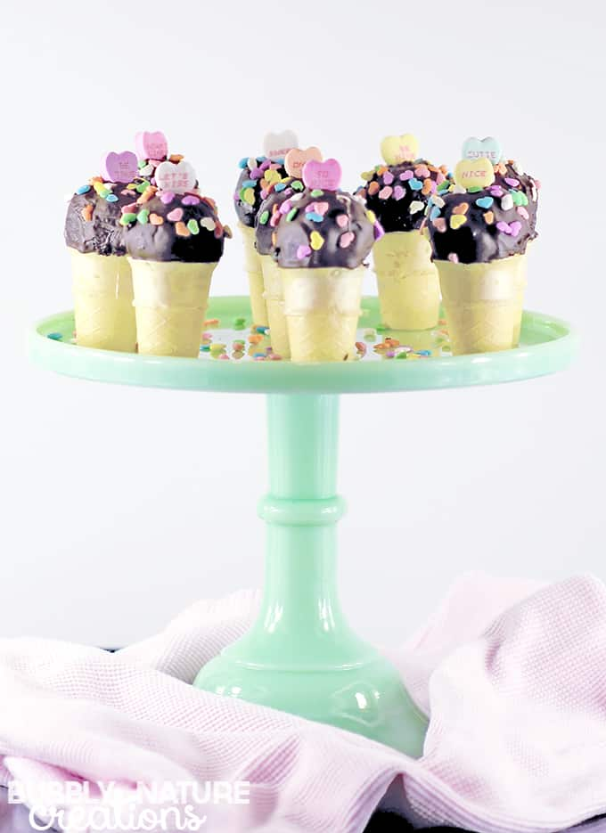 Valentine Ice Cream Cone Cake Pops!!!