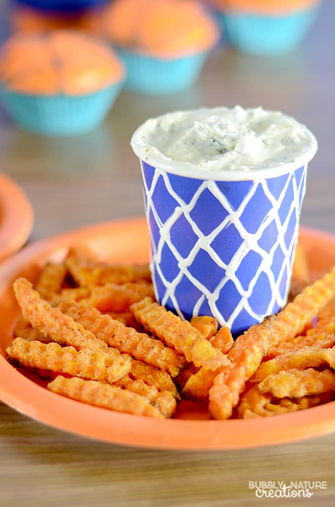 Alexia Crinkle Cut Sweet Potato Fries with Ranch Herb Dip