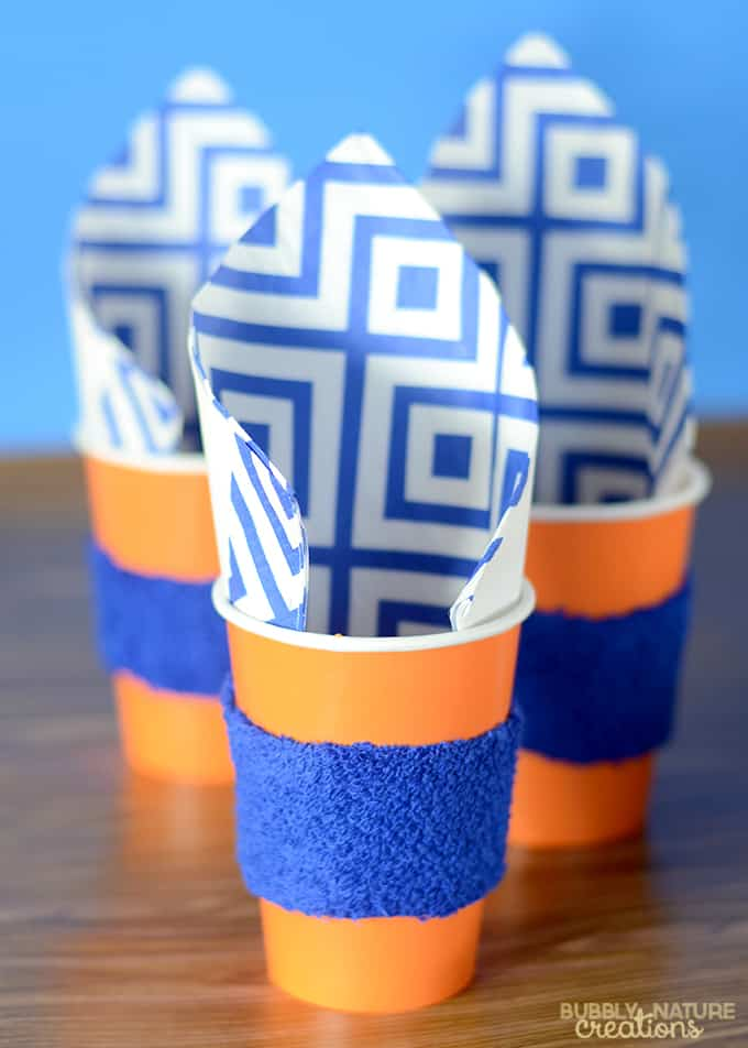 Cups with sweat bands for a basketball party!