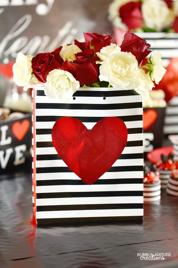 Easy Valentine Decor with a Gift Sack and Flowers!