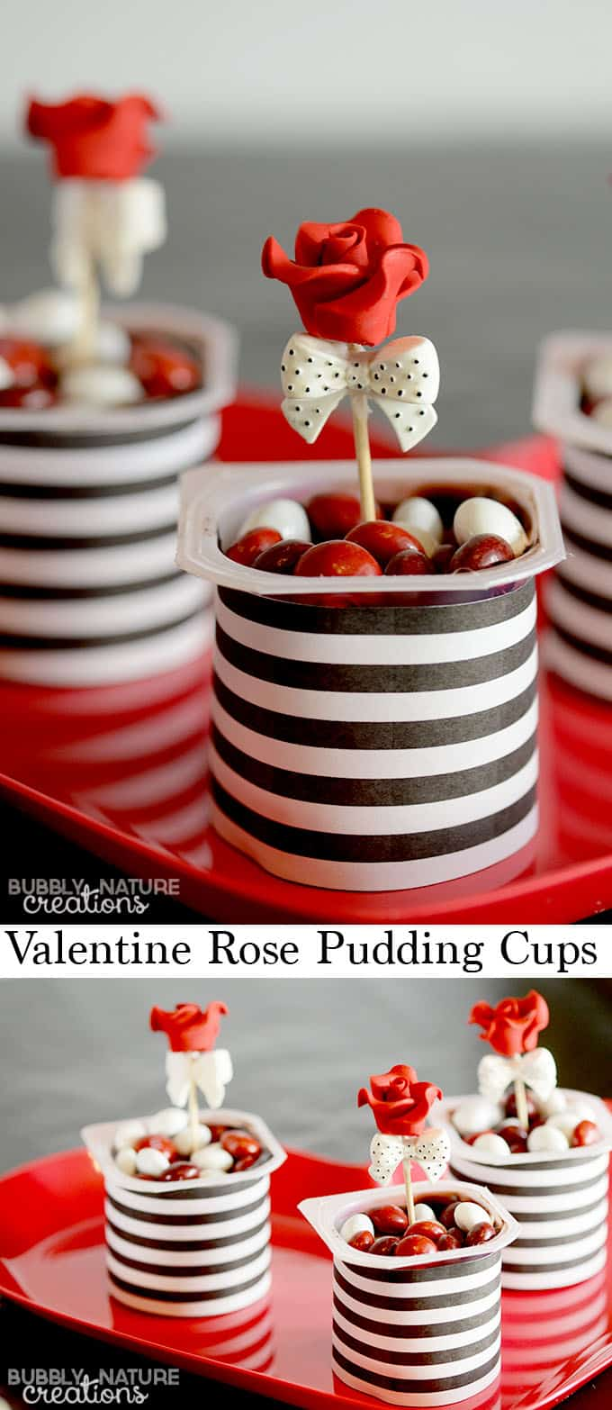 Valentine Rose Pudding Cups!  Just Mix in candy and decorate!  So cute for an easy Valentine Dessert idea!