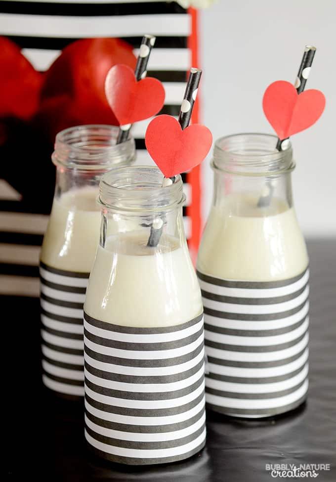 Valentine's Day Milk Glasses!