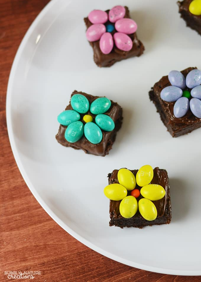 Brownies with Chocolate Candy Flowers!  Easy Easter Dessert Idea!
