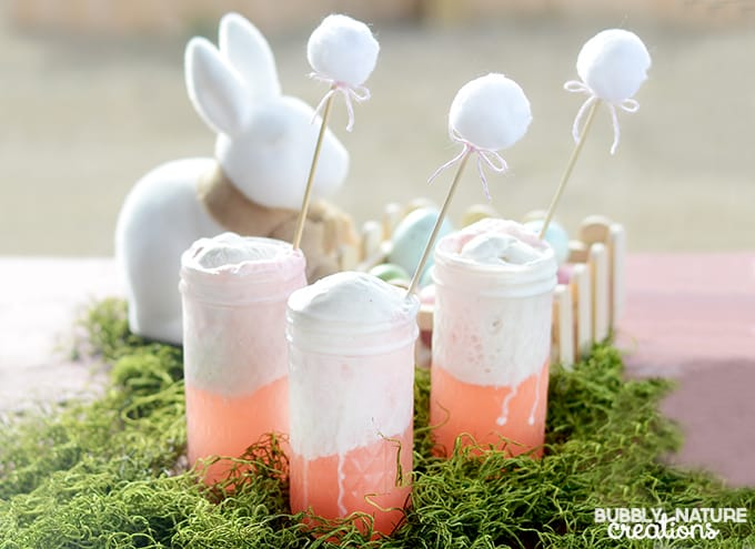 Bunny Punch with Bunny Tail stirrers!!! Fun Drink Idea for Easter!