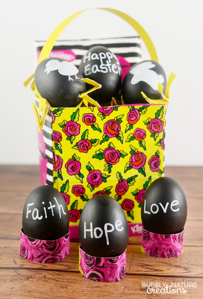 Chalkboard Easter Eggs with Kleenex Box Easter Basket and Egg Holders!  Easter Easter Idea!  #KleenexBetsyStyle #ad