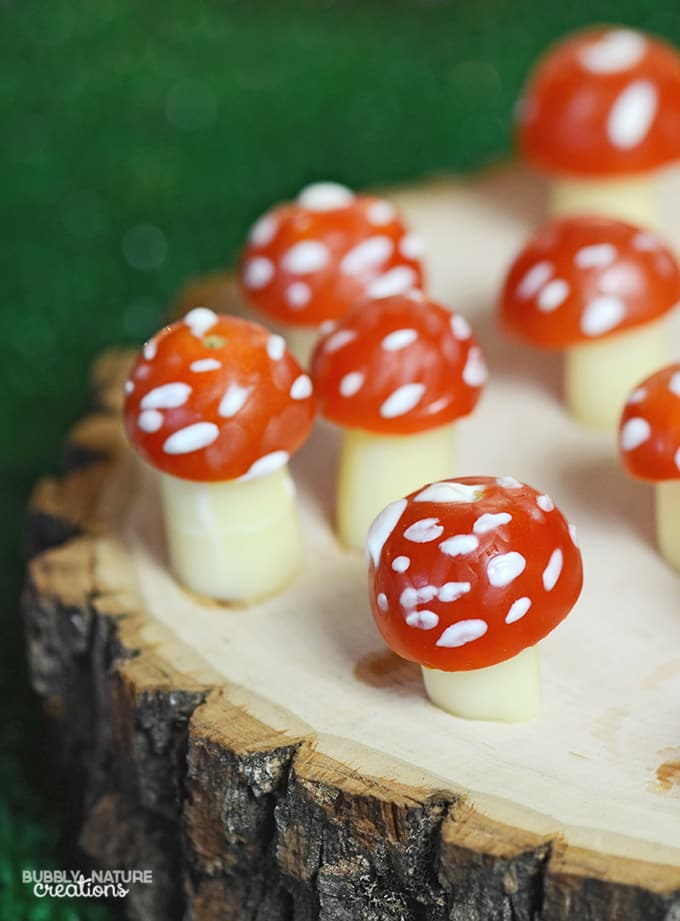 Cheese and Tomato Toadstools! Tinker Bell Party idea!