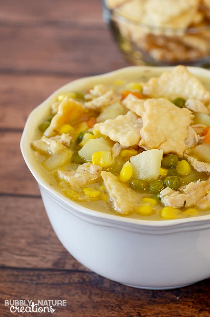 Chicken Pot Pie Soup!  Such a quick and easy meal idea!  I love the pie crust crackers and creamy taste of this soup.