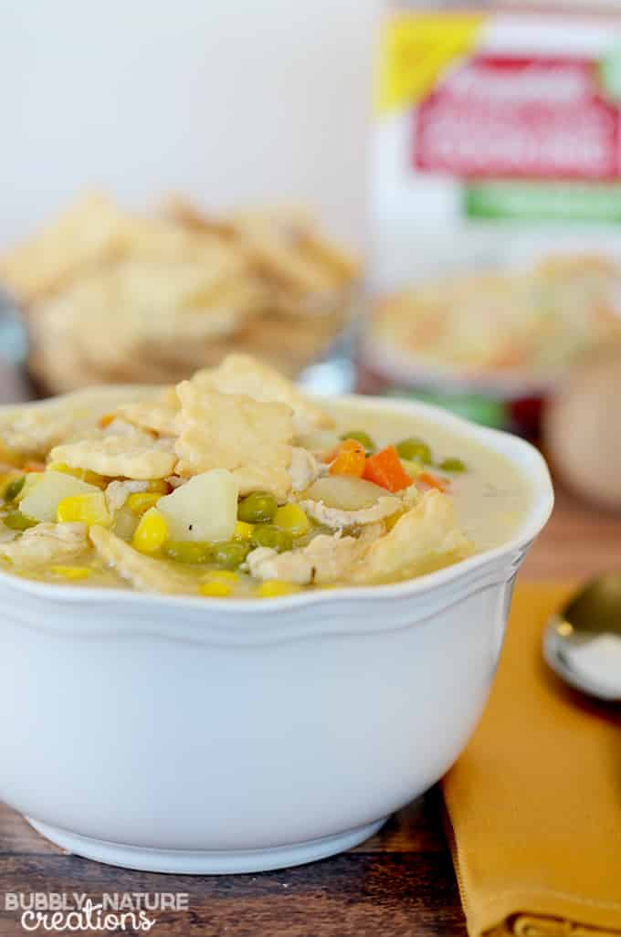 Chicken Pot Pie Soup!. Such a quick and easy meal idea!! I love the pie crust crackers and creamy taste of this soup.