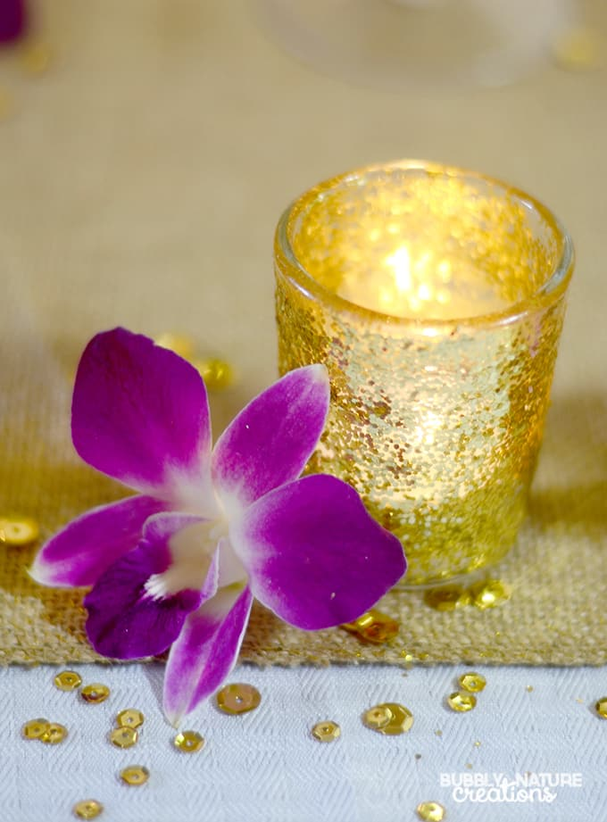 Make Easy Glittered Votives