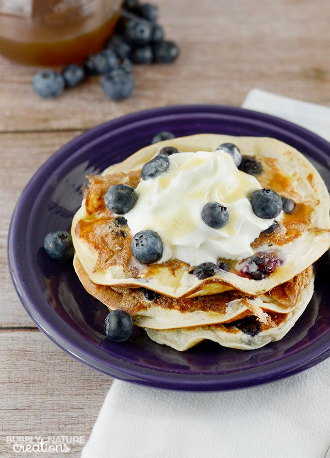 High Protein Oatmeal Blueberry Pancakes!!  Tastes even better than traditional pancakes!  Amazing!! 6 WWP+ THM E  #WeightWatchers #WWsponsored