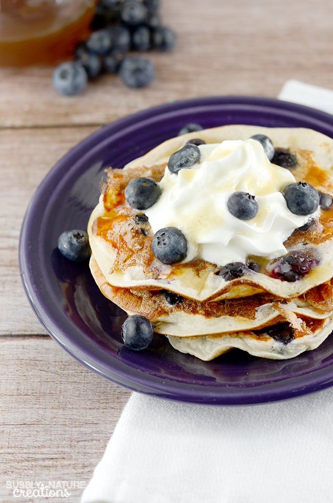 High Protein Oatmeal Blueberry Pancakes!!  Tastes even better than traditional pancakes!  Amazing!!! 6 WWP+ THM E  #WeightWatchers #WWsponsored