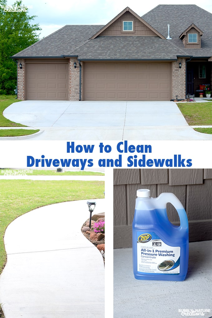 How to Clean Driveways and Sidewalks!  Easiest way to clean driveways and sidewalks is to use Zep and Pressure washing.  The results are amazing!