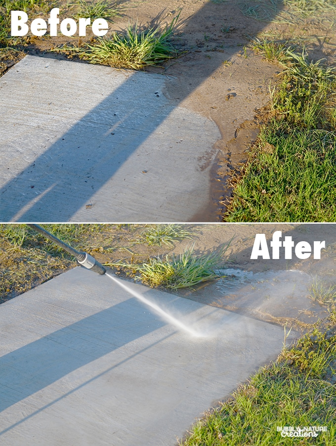 How to Pressure Wash Driveways and Sidewalks.  This sidewalk looks like new again and the mud just washed right off! #ZepSocialStars #ad