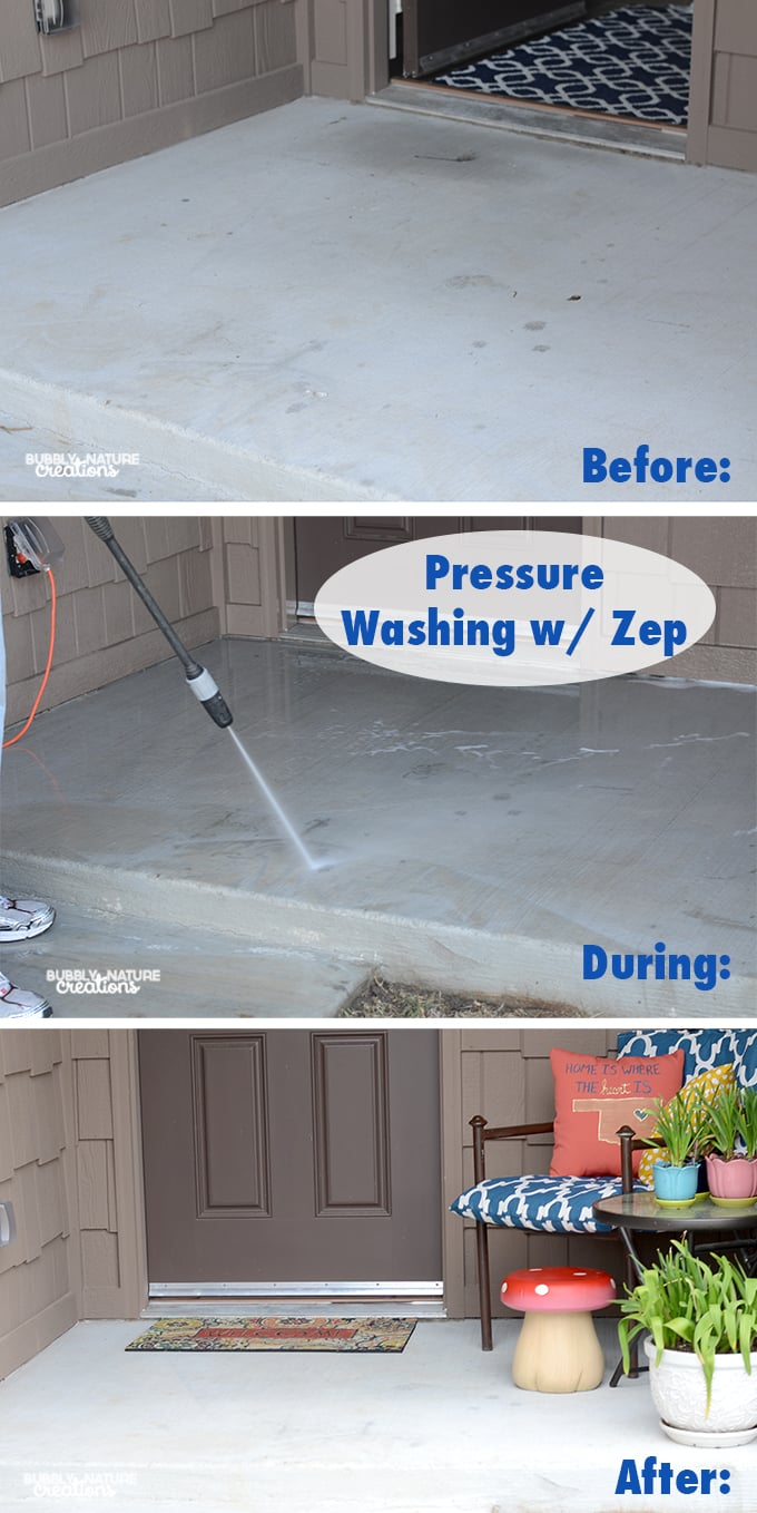 Pressure Washing front Patio with Zep!  Make your front patio and sidewalk look like new again! #ZepSocialStars #ad