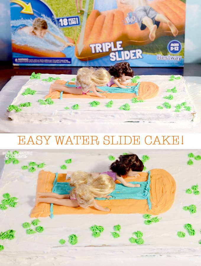 Picture of Barbies on Waterslide cake made with icing.