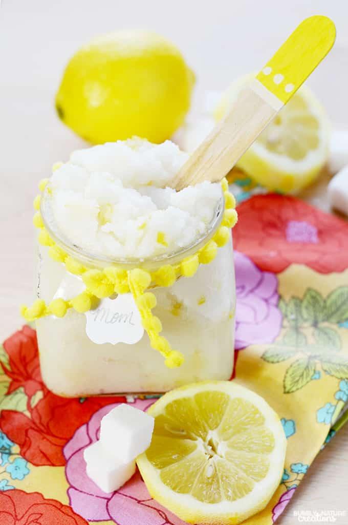 Lemon Meringue Sugar Scrub!  Smells delicoius and is super moisturizing.
