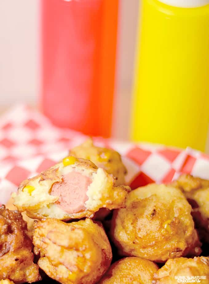 Corn Dog Fritters! Easy way to prepare corn dogs in a cream of corn batter!