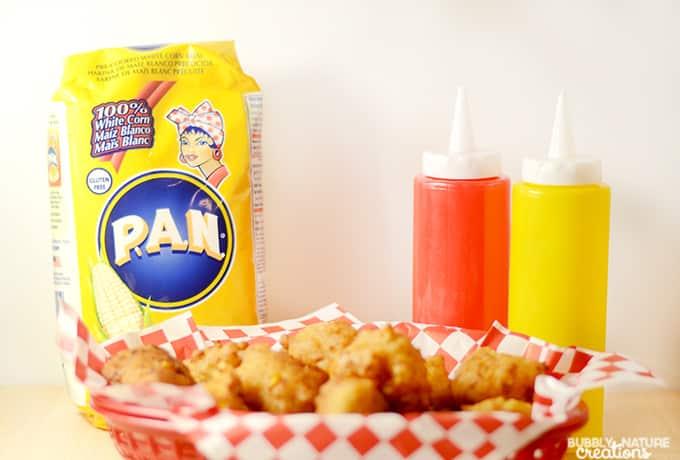 Corn Dog Fritters! Prepare corn dogs in a cream of corn batter! Easy corn dog idea!