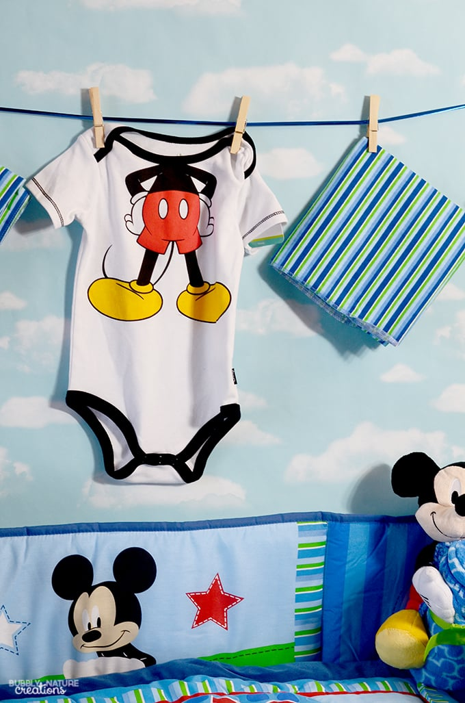 mickey mouse baby shower ideas use baby onesies and recieving