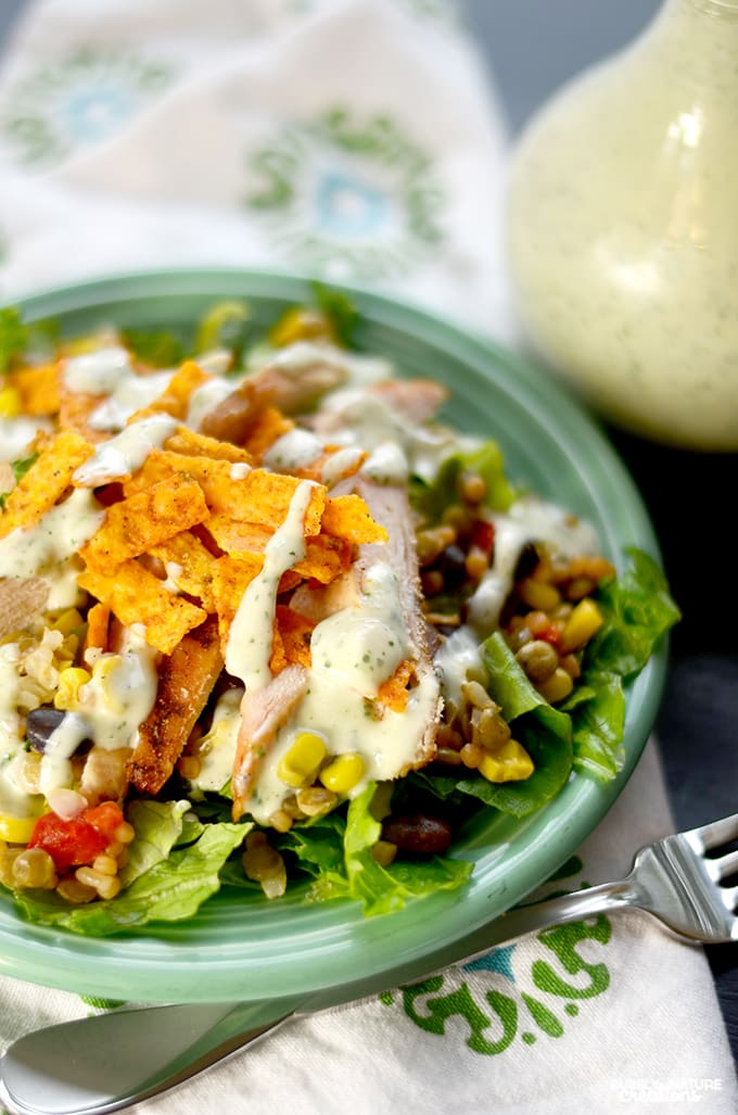 Southwest Salad with Cilantro Lime Ranch Dressing!!  Easy Salad recipe you may want to eat everyday!