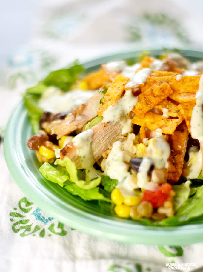 Southwest Salad with Cilantro Lime Ranch Dressing!!!  Easy Salad recipe you may want to eat everyday!