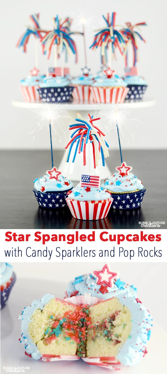Star Spangled Cupcakes with Candy Sparklers and Pop Rocks inside! Fun 4th of July Dessert!