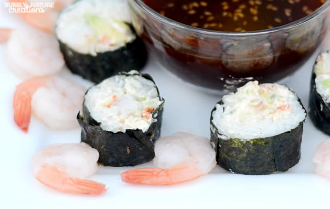 Easy California Rolls with a cream cheese filling!