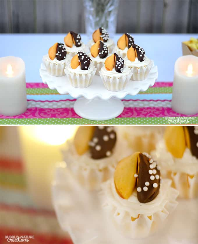 Easy Vanilla Almond Cupcakes with Fortune Cookie Toppers!