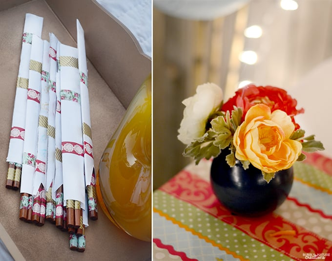 Outdoor Summer Evening Party decor and ideas.  These washi tape chopsticks are cute and easy to make!
