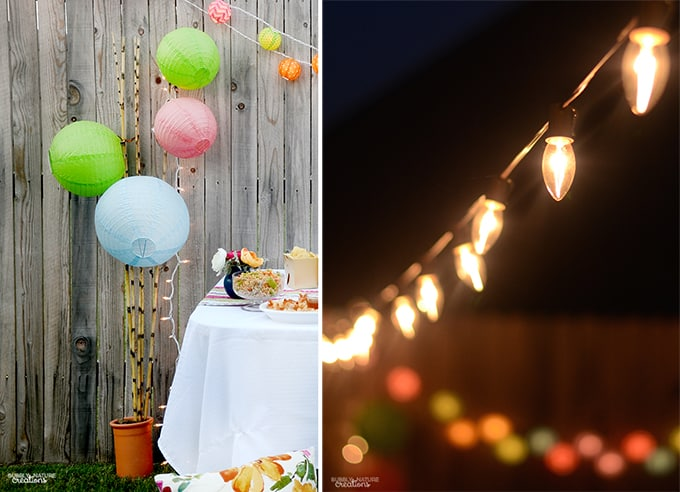 Outdoor Summer Evening Party decoration ideas!  Love the lanterns and lights!
