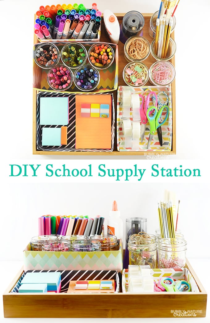 Diy School Part - 28: #SchoolYearReady #CollectiveBias DIY School Supply Station! Easy Way To  Organize All The School Supplies!