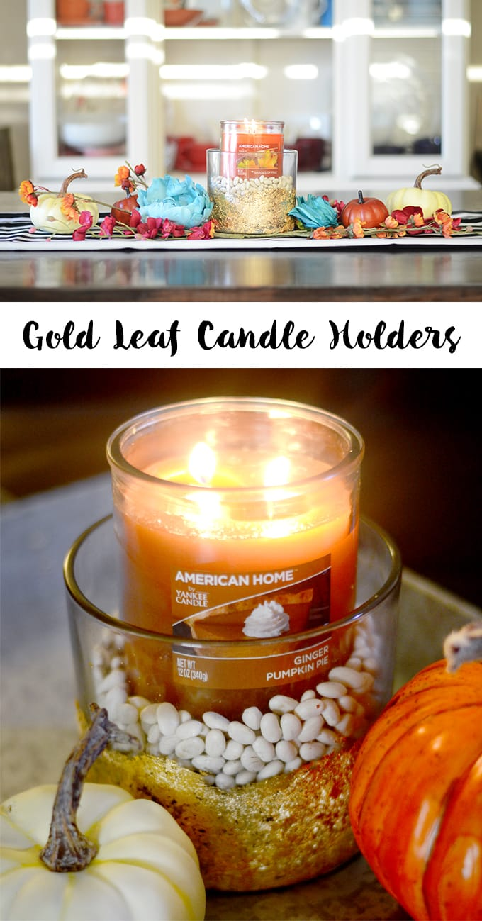 Gold Leaf Candle Holders! Such an easy and beautiful way to display scented candles.