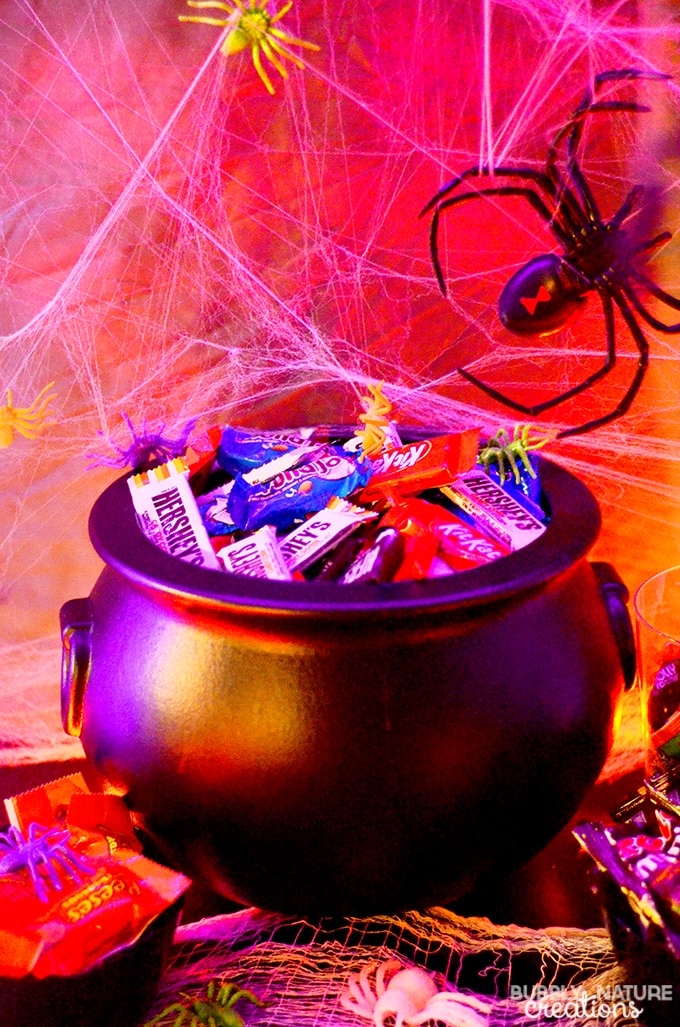 Halloween Glow Party Ideas!! Make a fun Halloween party tablescape with just rope lights and fake webs. Use glow in the dark accents and bright colored candies. More details...