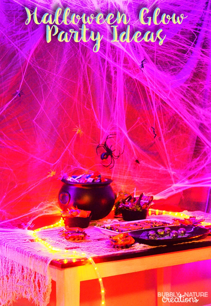 Halloween Glow Party Ideas!!! Make a fun Halloween party tablescape with just rope lights and webs. Use glow in the dark accents and bright colored candies. More details...