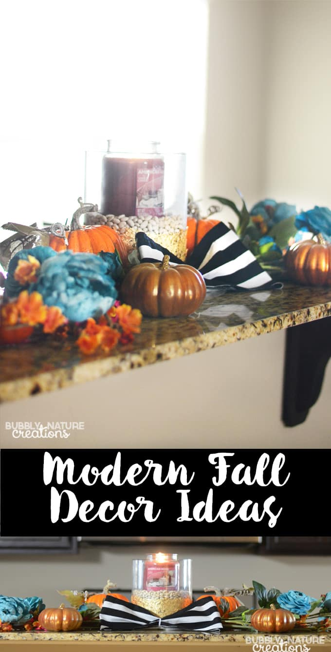 Modern Fall Decor Ideas with Gold Leaf Candle Holders! Such cute ideas to integrate other colors into the fall scheme. copy