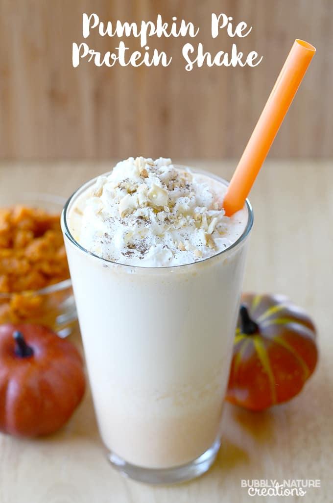 Pumpkin Pie Protein Shake! Yummy seasonal protein smoothie that is lower in carbs.