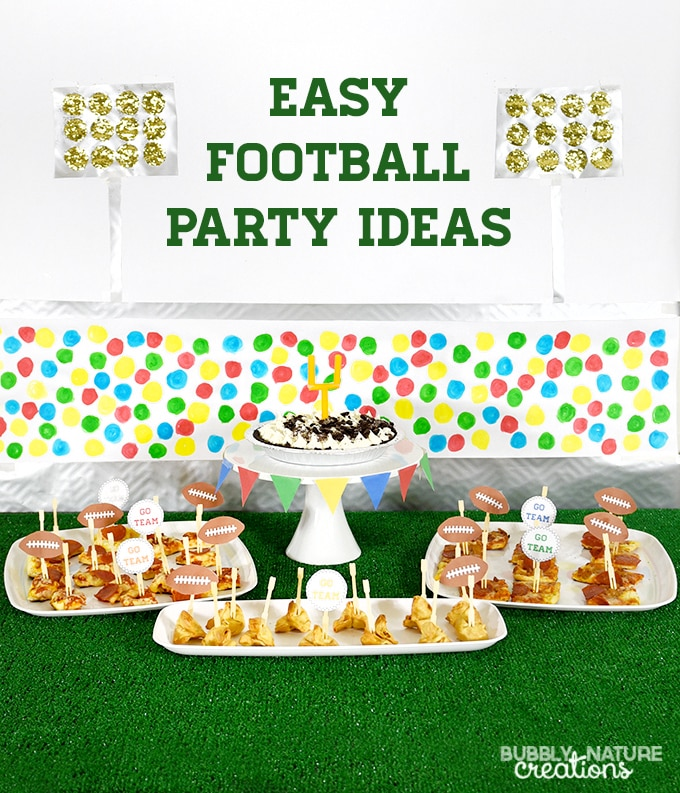 Easy Football Party Ideas!! This fun party set up is easy to make and has free printables!!!