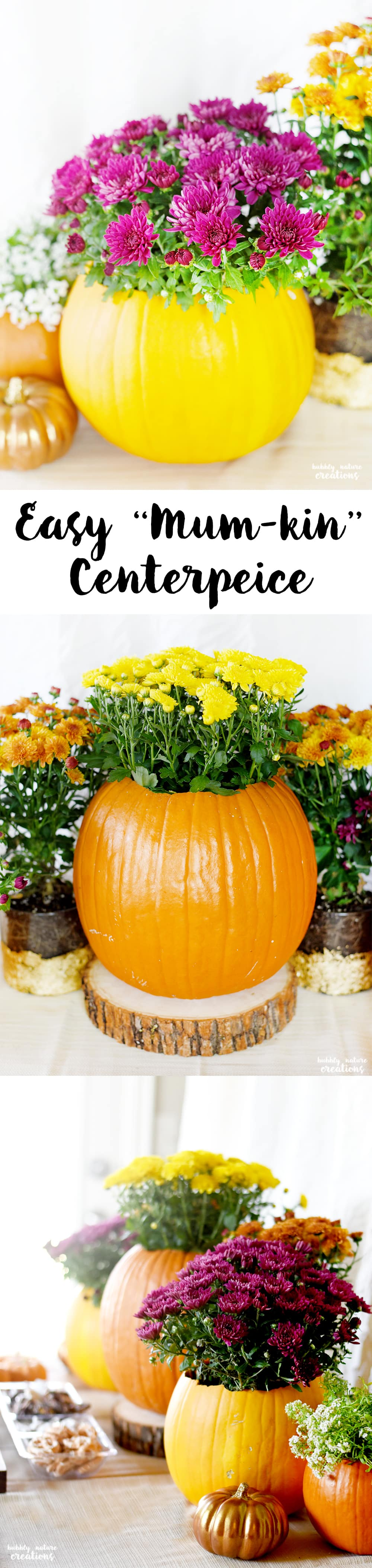 Easy Mumkin Centerpeice! Perfect for Thanksgiving Tablescape or any Fall decor!!!