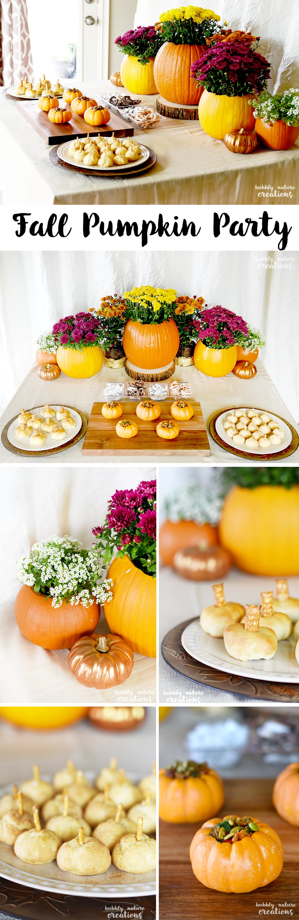 Fall Pumpkin Party Ideas! Such a beautiful tablescape for Thanksgiving or any Fall party. Love the mumkin centerpeice and pumpkin themed foods!