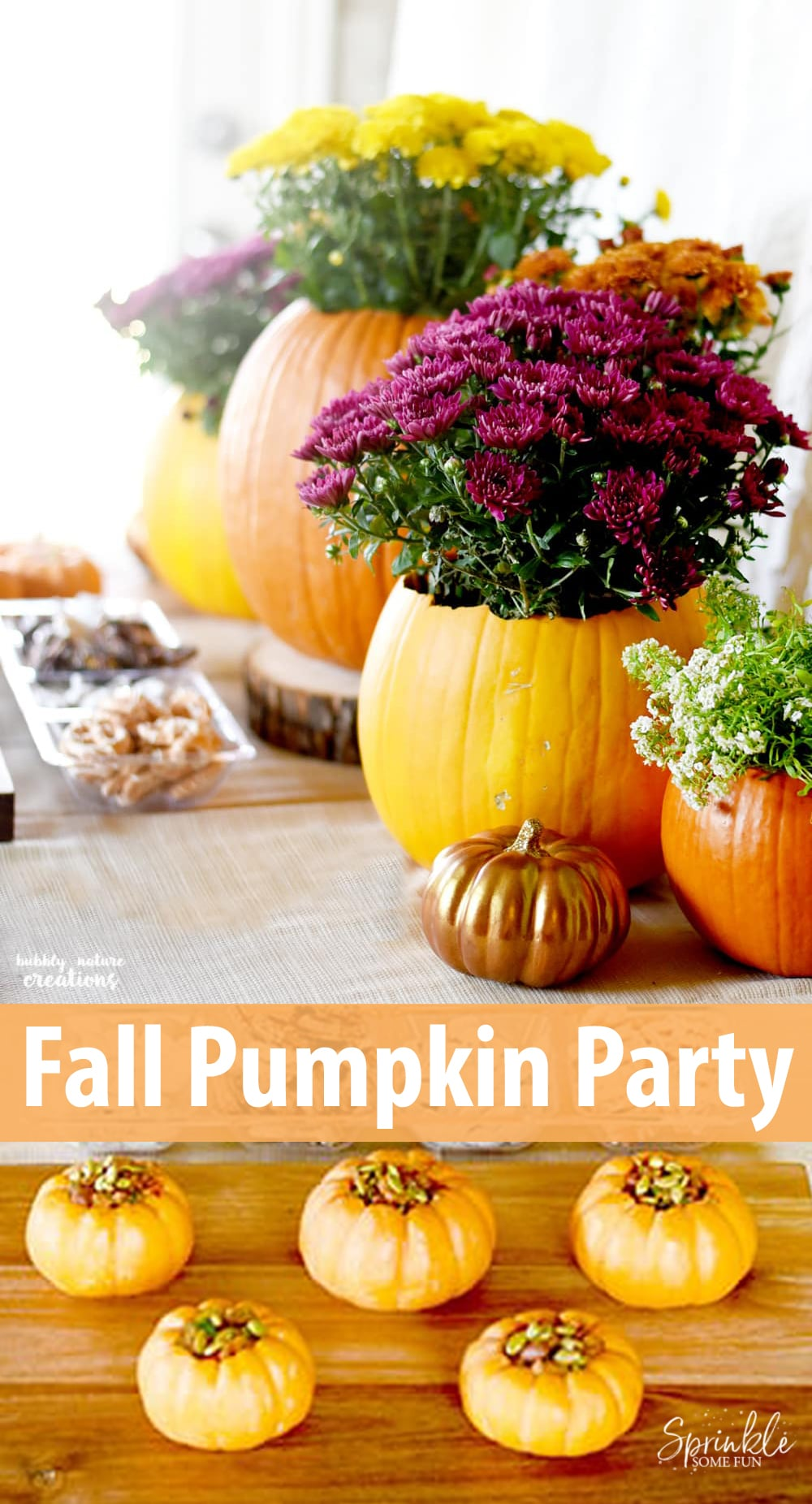 My favorite Fall celebrations involvecarving, cooking and baking with pumpkinsso Ithrew thisFall Pumpkin Party to celebrate the Fall season. #pumpkin #fall #party #falldecor #mumkin #pumpkindecor #pumpkinspice #flowers