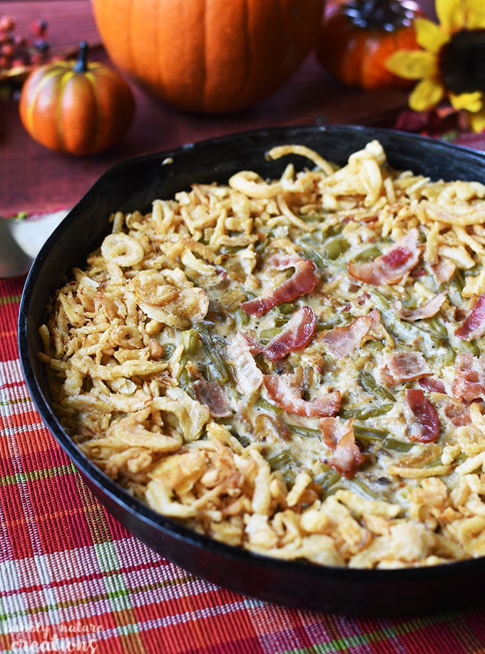 Green Bean Casserole Skillet w Caramelized Onions and Bacon!! This cooks up in 30 minutes and is a simply delicious twist on the classic!