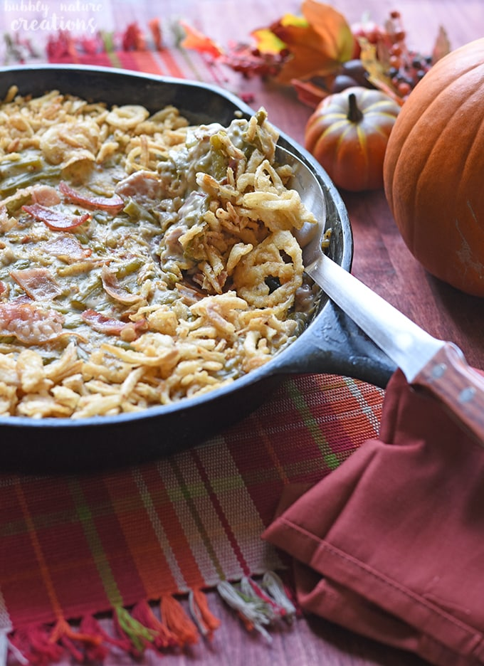 Green Bean Casserole Skillet w Caramelized Onions and Bacon!!. This cooks up in 30 minutes and is a simply delicious twist on the classic!