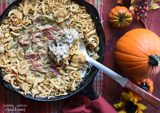 Green Bean Casserole Skillet with Caramelized Onions and Bacon!! This cooks in 30 minutes and is a simply delicious twist on the classic!