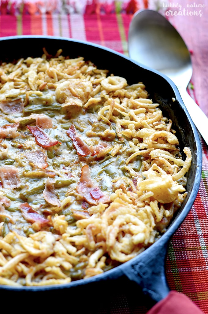 Green Bean Casserole Skillet with Caramelized Onions and Bacon!! This cooks up in 30 minutes and is a simply delicious twist on the classic!
