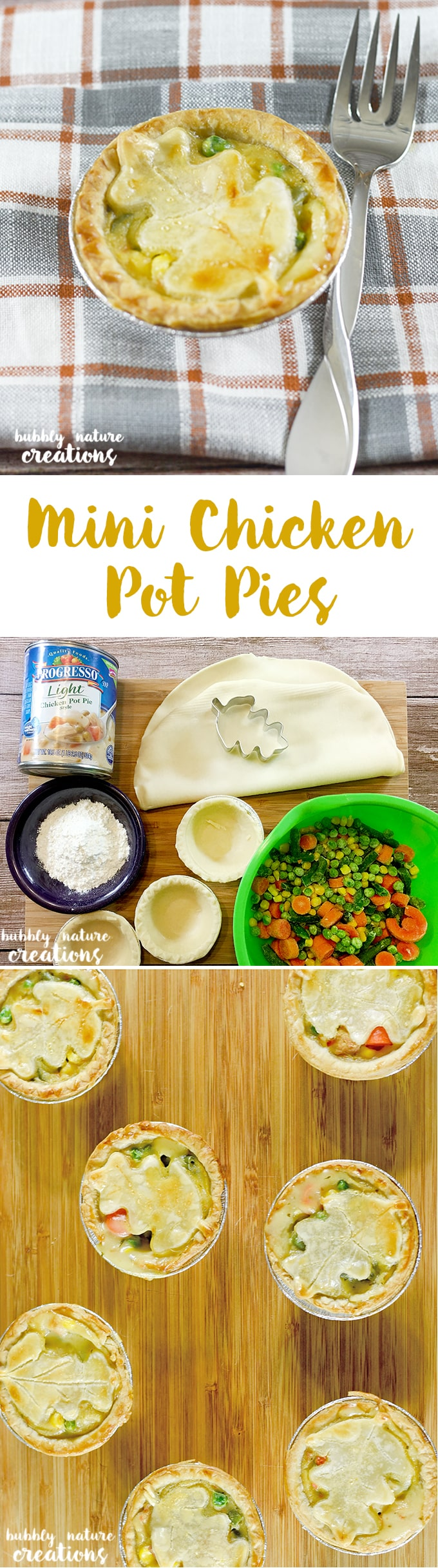Mini Chicken Pot Pies! These cute little pies are made with just a few ingredients and are perfect as an appetizer as well as a main dish! I love pot pies!