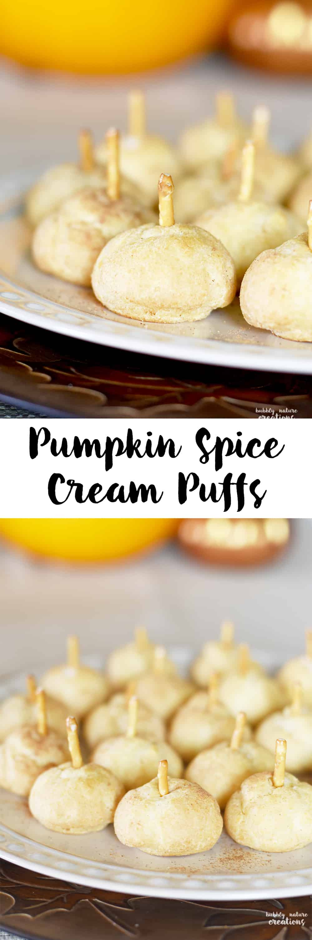 Pumpkin Spice Cream Puffs! So easy and cute for Thanksgiving dessert or any fall occasion!