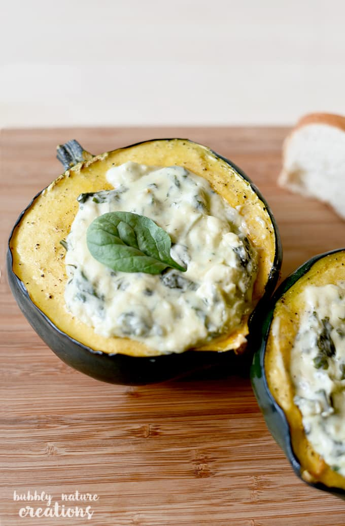 Roasted Acorn Squash w Havarti Spinach Artichoke Dip! This yummy appetizer is perfect for any occasion and looks great with a Thanksgiving spread.