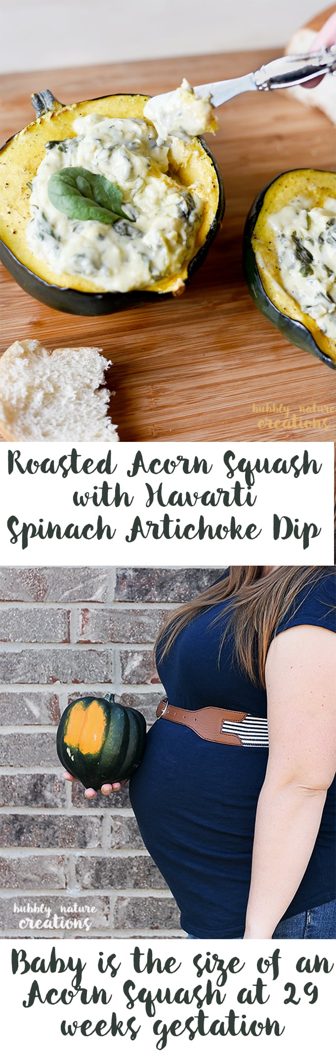 Roasted Acorn Squash with Havarti Spinach Artichoke Dip! This is so good and perfect to celebrate the 29th week of pregnancy!