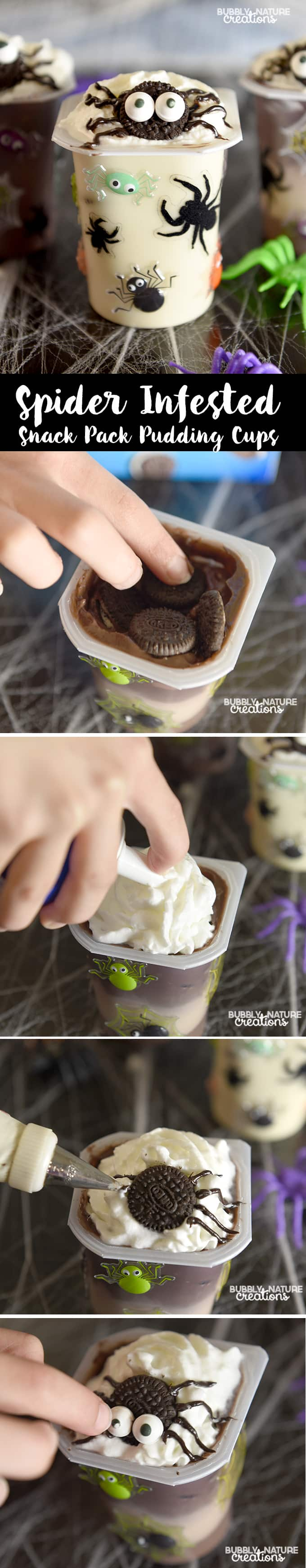 Spider Infested Snack Pack Pudding Cups! Super cute Halloween snack and party idea!