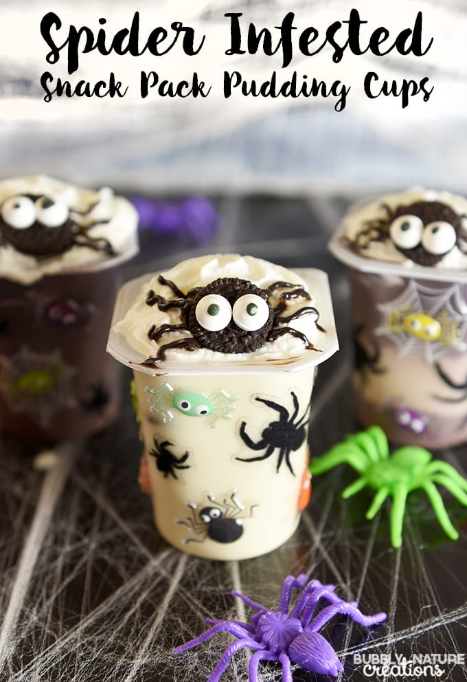 Spider Infested Snack Pack Pudding Cups!! Super cute Halloween snack and party idea!
